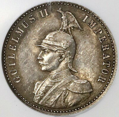 1891 NGC AU 58 German East Africa Silver 1/2 Rupie Coin 68K Minted (17031001C)
