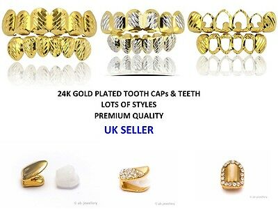 24K Gold Plated Teeth Mouth brace Single Double Tooth Cap Clip Bling new hip hop