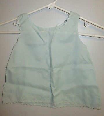 Vintage Baby Slip or Petticoat pastel green with scalloped edging