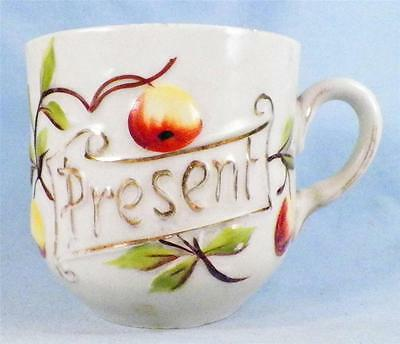 Antique A Present Mug Cup Porcelain Peaches Hand Paint Gold Lettering Victorian