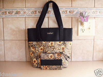 Longaberger Khaki Floral Tote Bag Purse And Coin Purse Set Nip * Free Shipping