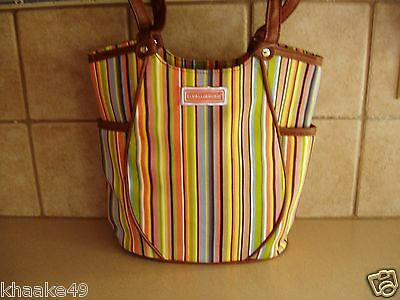 Longaberger Summertime Stripe Tote Purse With Side Pockets  Nip * Free Shipping