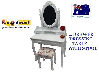 Elegant Girls Dressing Table & Stool 4 Drawers Jewellery & Makeup Cabinet Hw-106