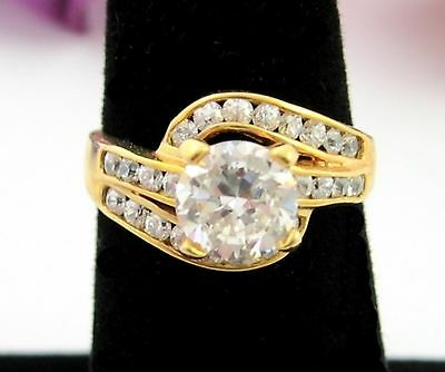BRILLIANT Round CZ RING  Side Stones Wrap Shank Cubic Zirconia Goldtone Size 7