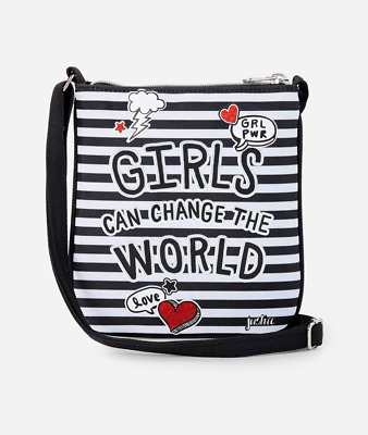 Justice Girl's PAWSITIVITY 'Girls Can Change The World' Crossbody Purse NWT