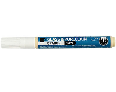 White Glass & Porcelain Pump Action Pen for Decorating Crafts