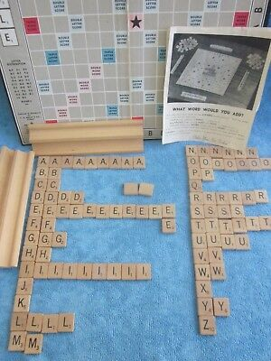 vintage 1950s SCRABBLE GAME - wooden tiles and stands, board & box COMPLETE