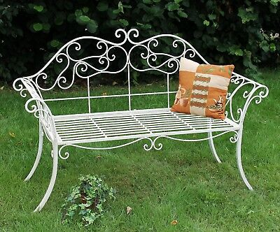 GARDEN BENCH ROMANCE WHITE 111183 Bench 146 cm of Wrought Iron Metal Seat
