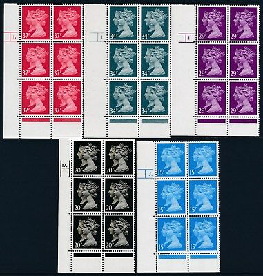 1990 PENNY BLACK 150th ANNIVERSARY SET OF 5x CYLINDER BLOCKS OF 6 FINE MINT MNH