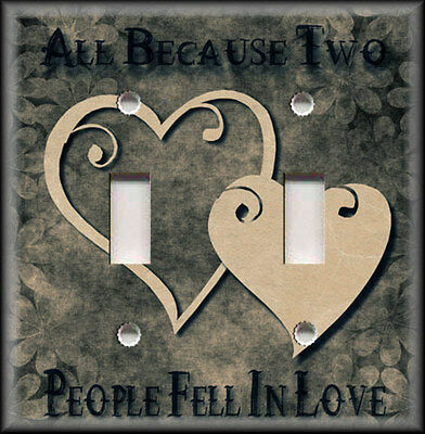 Light Switch Plate Cover - All Because Two People Fell In Love Grey Tan