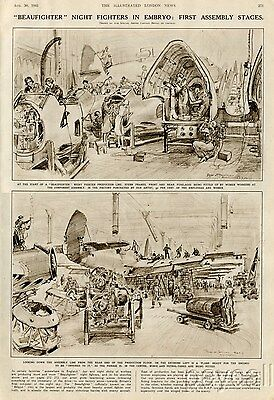 1941 Print WW II British Bristol Beaufighter Airplane Assemby Stages