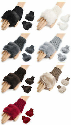Fashion Autumn Warmer Women Faux Rabbit Fur Hand Wrist Knitted Fingerless Gloves