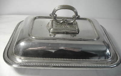 Vintage Silver Plated Oblong Entree Dish With Snap Top Handle.
