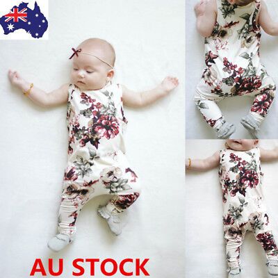 Newborn Baby Girl Floral Jumpsuits Cotton Romper Flower Bodysuit Outfits Clothes