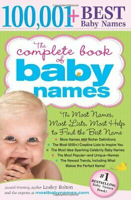 The Complete Book of Baby Names by Lesley Bolton Paperback Book The Cheap Fast