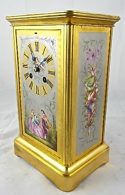 Beautiful antique 19th c French Japy Freres gilt brass & Porcelain Mantle Clock