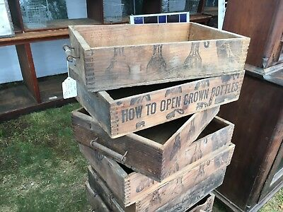 c1900 vintage ANTIQUE crown bottle wooden crate box GREAT graphics 19.5 x 13 x 4