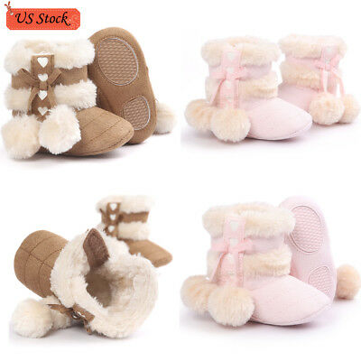 Newbon Baby Girls Soft Sole Snow Boots Soft Crib Shoes Toddler Prewalker Boots