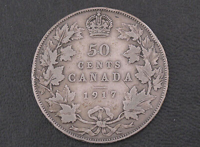 1917 Canada Fifty Cents .925 Silver Coin D8607