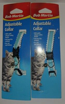 2 Bob Martin Cat Collar and Kitten Adjustable Quick Release Safety Buckle & Bell