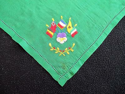 Antique WW1 Bright Green Silk & Embroidered Handkerchief - Allied Flags