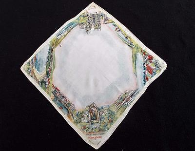 Vintage 1930's Printed Souvenir Handkerchief Hanky - Greetings From Yorkshire