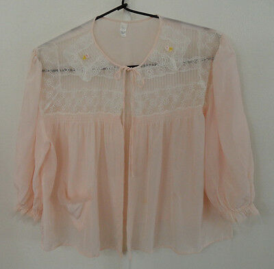 Vtg 60's Nanette Undies Co. Bed-Jacket Shrug Nightgown Cover Up Pink Sheer Glam