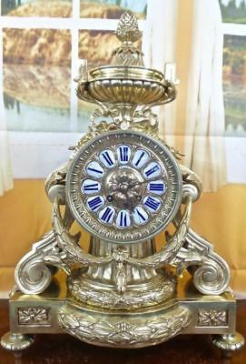Large XL antique French 1855 solid gilt brass Palace mantle clock by Vincenti