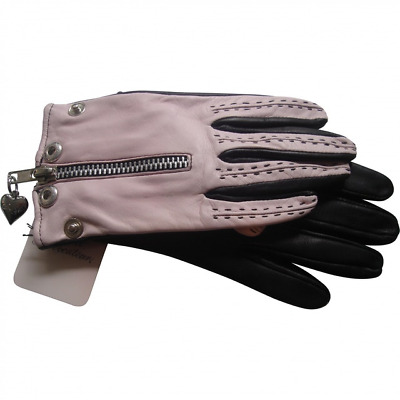 Agent Provocateur Vincent Leather Short Gloves Pink Black Small 6 Bnwt
