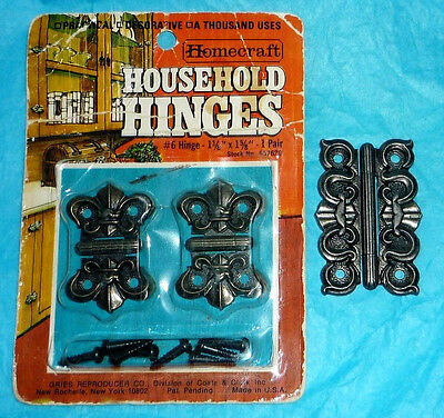 3 Rare Antique Vintage Ornate Decorative Small Metal Hardware Hinges Lot