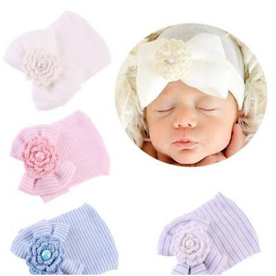 Newborn Stripe Bowknot Hat Infant Toddler Girls Beanie Comfy Hospital Cap CB