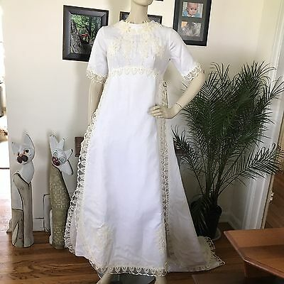 Vintage 1960s Alfred Angelo Wedding Dress Gown W/Train Embellished Floral Mesh T