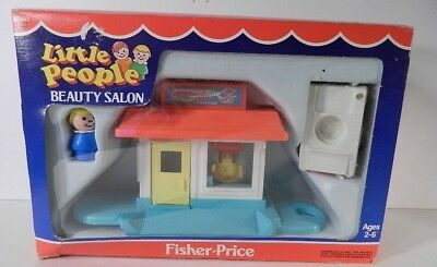 Vintage Fisher Price Little People Beauty Salon Play Family Pink Car NIB