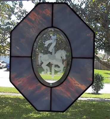 Stained Etched Beveled Glass Window Octagon Suncatcher Carousel Horse Baby Blue