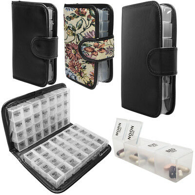 Daily Pill Organizer Portable Travel Case 7 & 14 Day Weekly AM PM Planner w Lock