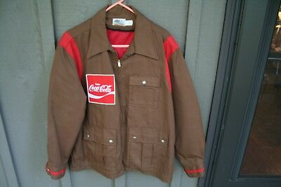 Vintage USA Made Coke Quilted Delivery Jacket Coca Cola sz M 1960's Driver NICE