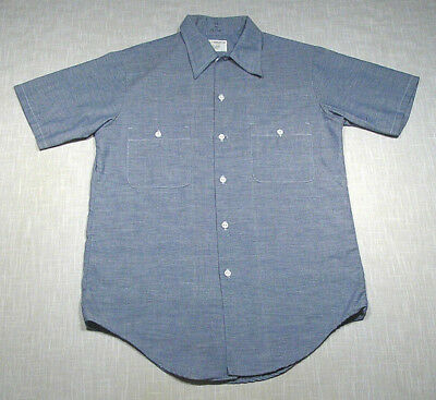 Vintage JCPENNEY Big Mac SS Chambray Shirt (70s) Blue WORK/CHORE! WOW! S