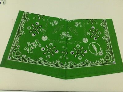 Green Good Old Grateful Dead Bandana SYF Jerry Bears 100% Cotton Licensed