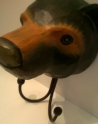 Carved Wood Black Bear Head Wall Hanging Coat Rack Hook