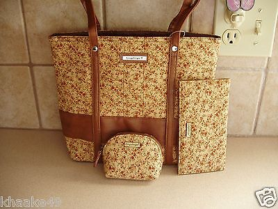 Longaberger Fall Vintage Floral Tote, Checkbook & Coin Purse Nip * Free Shipping