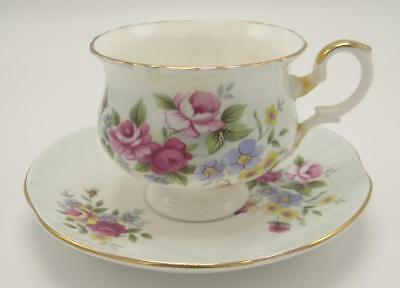 Crown Staffordshire Fine Bone China Footed Teacup Saucer Pink Blue Yellow Floral