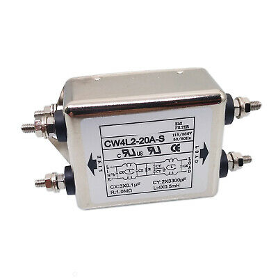 US Stock Connection Terminal Power EMI Noise Filter 20A 115/220V 50/60Hz