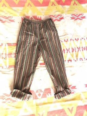 50's Vintage Striped High Waist Side zip Pedal Pushers pants trousers 26 W