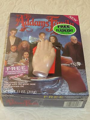 VINTAGE CEREAL BOX 1991 THE ADDAMS FAMILY Sealed Box THING hand Flashlight