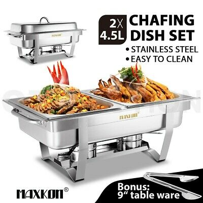 9L Bain Marie Bow Chafing Dish 4.5Lx2 Stainless Steel Buffet Food Stackable Set