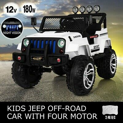Electric Ride on Jeep Remote Control Off Road Kids Car w/ Built-in Songs - White