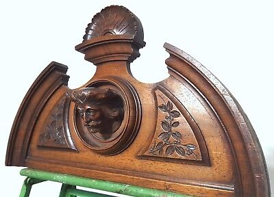 Hand Carved Wood Pediment Antique French Gothic Figure Architectural Salvage