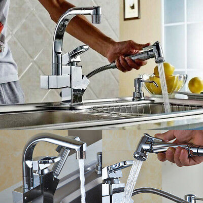 LED Pull Out tap Kitchen Taps Chrome Spray Swivel Mixer Modern Luxury Sink
