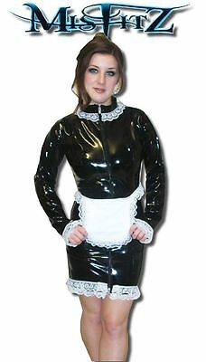 Misfitz black pvc mistress maids dress 2 way zip sizes 8-32 or made to measure