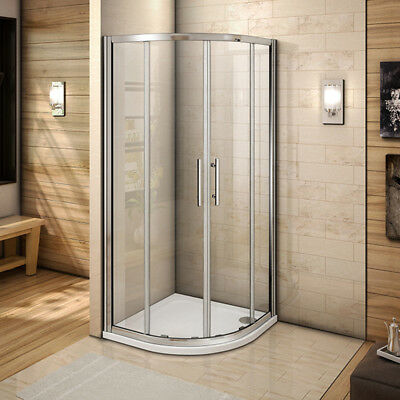 Quadrant Sliding Shower Enclosure Corner Cubicle Glass Door Screen Tray Waste